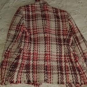Zara Jackets & Coats - Zara Red White Plaid Tweed Jacket Blazer